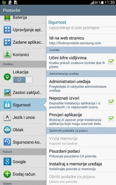 instaliraj aplikaciju nepoznati izvori