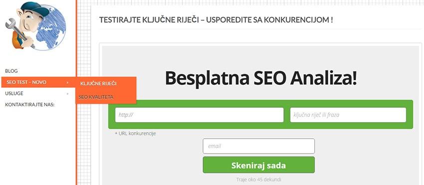 Od sada možete Besplatno testirati Vašu web stranicu!