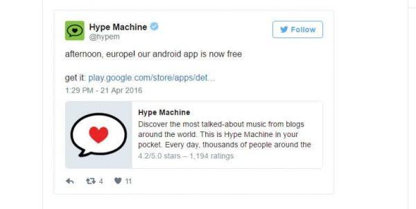 Hype Machine android aplikacija postala besplatna