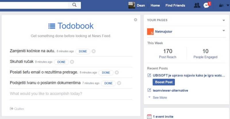 facebook produktivnost